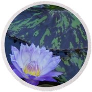 Violet Lily Round Beach Towel