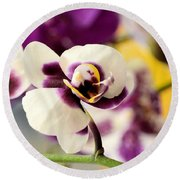 Violet Orchids Brushed With Gold Round Beach Towel