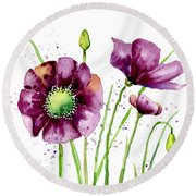 Violet Poppies Round Beach Towel by Annie Troe
