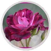 Violet Red Rose Round Beach Towel