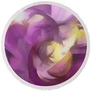 Violet Summer Pastel Abstract Round Beach Towel