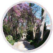 Violet Tree Alley Round Beach Towel