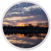 Violet Twilight On The Lake Round Beach Towel