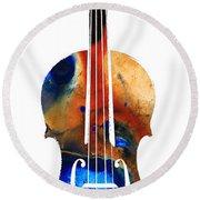 Violin Art By Sharon Cummings Round Beach Towel