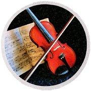 Violin Impression Redux Round Beach Towel