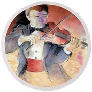 Violin Man Round Beach Towel