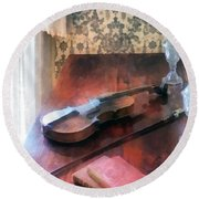 Violin On Credenza Round Beach Towel
