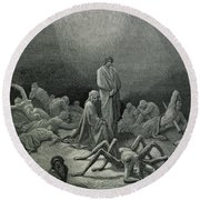Virgil And Dante Looking At The Spider Woman, Illustration From The Divine Comedy Round Beach Towel