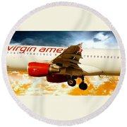 Virgin America A320 Round Beach Towel