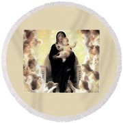 Virgin And Child Fractalius Round Beach Towel