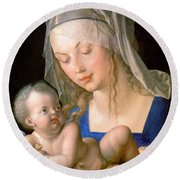 Virgin And Child Holding A Half-eaten Pear, 1512 Round Beach Towel