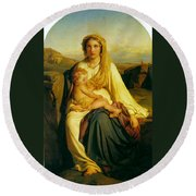Virgin And Child Round Beach Towel by Paul  Delaroche