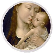 Virgin And Child Round Beach Towel