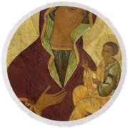 Virgin And Child Round Beach Towel by Russian School