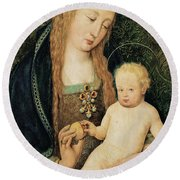 Virgin And Child With Pomegranate Round Beach Towel by Hans Holbein the Younger