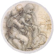 Virgin And Child With St. Anne Round Beach Towel