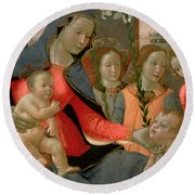 Virgin And Child With St John The Baptist And The Three Archangels Round Beach Towel