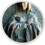Virgin Mary Relief Round Beach Towel