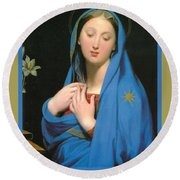Virgin Of The Adoption Poster Round Beach Towel