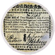 Virginia Banknote, 1781 Round Beach Towel