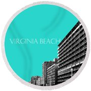 Virginia Beach Skyline Boardwalk  - Aqua Round Beach Towel
