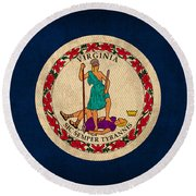 Virginia State Flag Art On Worn Canvas Round Beach Towel