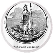 Virginia State Seal Round Beach Towel