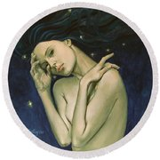 Virgo  From Zodiac Series Round Beach Towel