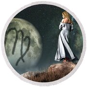 Virgo Zodiac Symbol Round Beach Towel by Daniel Eskridge