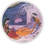 Vishnu And Lakshmi Float Across Cosmos Round Beach Towel by Photo Researchers