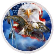 Vision Of Freedom Round Beach Towel