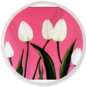 Visions Of Springtime - Abstract - Triptych Round Beach Towel