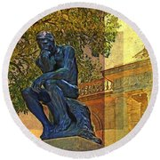 Visit To The Thinker Round Beach Towel