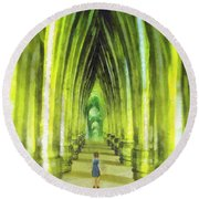 Visiting Emerald City Round Beach Towel