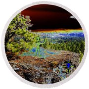 Visiting Rimrock In Spokane Round Beach Towel