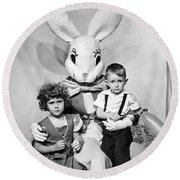 Visiting The Easter Bunny Round Beach Towel