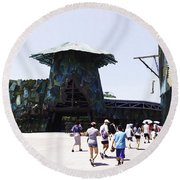 Visitors Heading Towards The Waterworld Attraction At Universal Studios Round Beach Towel