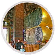 Visitors Pass Bottoms Of Feet Of Reclining Buddha In Wat Po In B Round Beach Towel
