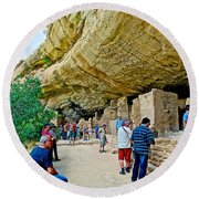 Visitors To Spruce Tree House On Chapin Mesa In Mesa Verde National Park-colorado Round Beach Towel