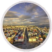 Vista Of Reykjavik  Round Beach Towel