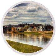 Vistula River In Cracow Round Beach Towel