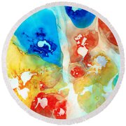 Vitality - Contemporary Art By Sharon Cummings Round Beach Towel