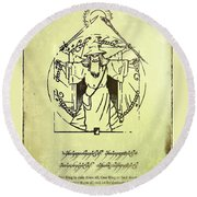 Vitruvian Gandalf The White Round Beach Towel