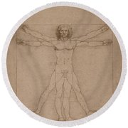 Vitruvian Man  Round Beach Towel