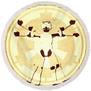 Vitruvian Stormtrooper Ghost Round Beach Towel