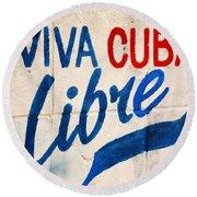 Viva Cuba Libre Sign Round Beach Towel