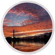Vivid Skyscape - Summer Sunset At Toronto Beaches Marina Round Beach Towel