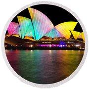 Vivid Sydney 2014 - Opera House 1 By Kaye Menner Round Beach Towel