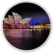 Vivid Sydney 2014 - Opera House 5 By Kaye Menner Round Beach Towel