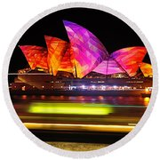 Vivid Sydney By Kaye Menner - Opera House ... Triangles Round Beach Towel